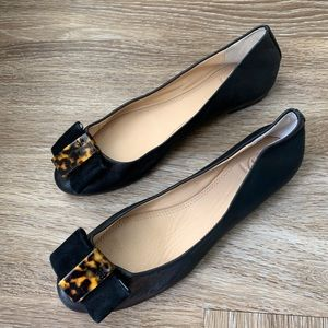 NWOT Tory Burch Black and Tortoise Shell Flats(8)